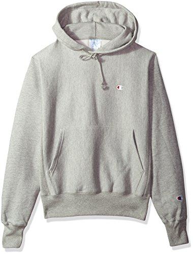 Champion LIFE Men's Reverse Weave Pullover Hoodie, Oxford Gray/Left Chest C Logo, Medium
