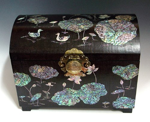 Moeder van de Parel Luxe Grote Handgemaakte Gelakte Eend in Lotus Vijver Ontwerp Aziatische Big Brown Houten Sieraden Trinket Keepsake Treasure Box Ring Horloge Case Chest Organizer