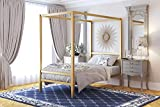DHP Modern Canopy Bed with Built-in Headboard - Twin Size (Gold)
