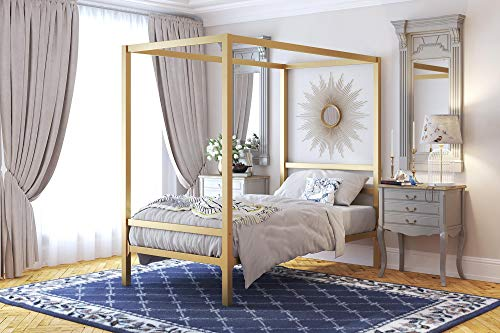 DHP Modern Canopy Bed with Built-in Headboard – Twin Size (Gold)