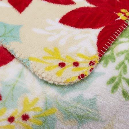Mainstay Pointsetta Plush Throw Blanket 50 x 60