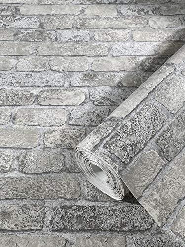 Steintapete Grau Backstein Ziegelstein 3D Effekt für Schlafzimmer Wohnzimmer oder Küche Tapete Steinoptik 10,05m x 0,53m 58411 marburg