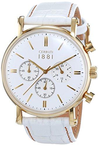 Cerruti 1881 Herren-Armbanduhr TREMEZZO Analog Quarz Leder CRA110SG01WH