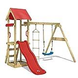 WICKEY Aire de jeux Portique bois TinyCabin avec balançoire et toboggan rouge Maison enfant exterieur avec bac à sable, échelle d'escalade & accessoires de jeux