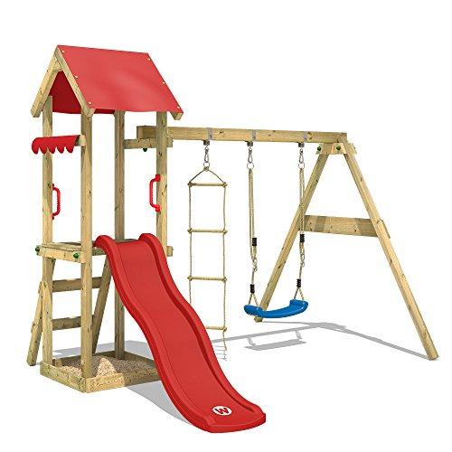 WICKEY Parque infantil de madera TinyCabin con columpio y tobogán rojo, Torre de escalada de exterior con arenero y escalera para niños