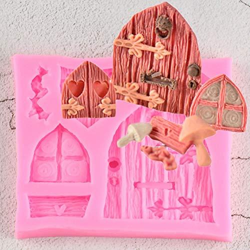 UNIYA 3D Dibujos Animados Arte casa de Hadas Puertas de Madera y Ventanas Silicona Chocolate Fondant Molde artesanía Arcilla polimérica decoración de Pasteles