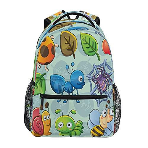 Mochila de abejas con diseño de caracoles, araña, manzana, estudiante, escuela, mochila de 14 pulgadas, mochila de viaje, bolsa de hombro para niños y niñas