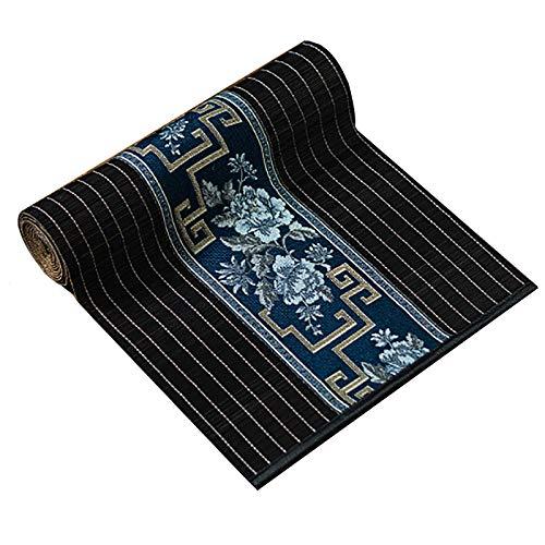 Corredor de Mesa Camino de Mesa de Bambú Estilo Chino Retro, 90/120/150/180/210/250 cm de Largo, Mantel Práctico Negro Resistente Al Calor (Size : 30×210cm/12 ×82.7in)