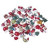 OBANGONG 50 Pcs Mix Christmas Tree Snow Resin Flatback Button Art Album Flatback Embellishments DIY Decoration Scrapbooking Craft,Style Random