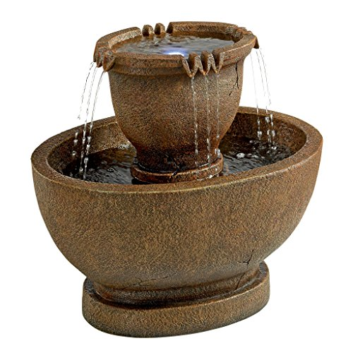 Water Fountain with LED Light - Richardson Oval Water Urn Garden Decor Fountain: Large - Outdoor Water Feature