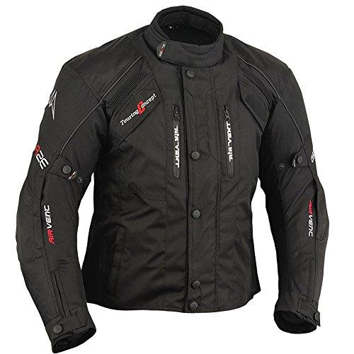 Textil Motorrad Jacke Motorradjacke Schwarz (5XL)