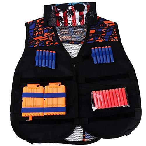 Deryang Chaleco de Juego, Chaleco Negro para niños, Resistente al Agua, cómodas Actividades al Aire Libre para Juegos de tácticas(Double Shoulder Pattern Vest)