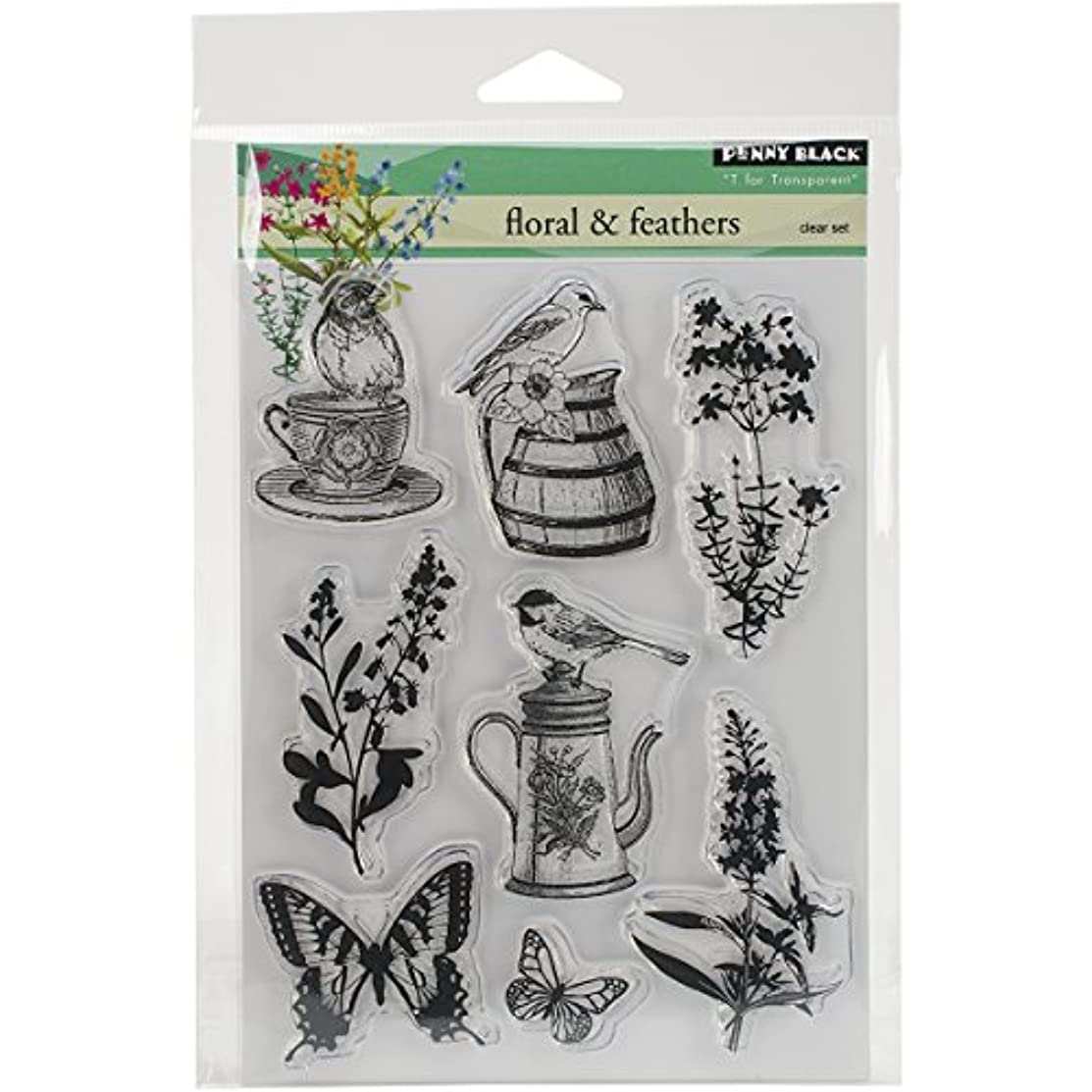 Penny Black PB30296 Florals & Feathers Clear Stamps Sheet, 5 x 6.5