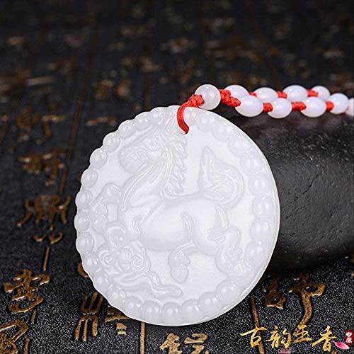 ZYLZL Colgante de caballo de jade blanco natural, collar de jadeíta, joyería con dijes, accesorios de moda, tallado a mano, amuleto de la suerte para hombre, regalos