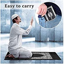 Portable Black Color Muslim Prayer Rug with Compass Pocket Size Prayer Mat ompass Qibla finder with Booklet Waterproof Mat...