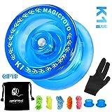 MAGICYOYO Responsive Yoyos K1-Plus for Kids Beginner, Plastic Yoyo with Yoyo Sack + 5 Yoyo Strings + Yo-Yo Glove+ Hubstack Gift( Crystal Blue)