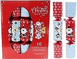 Toyland® Packung mit 10 großen Familien-Weihnachtscrackern - Santa & Rudolph Design - Rot & Blau