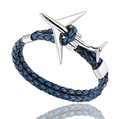 RJGOPL Multi Layer Lederen Vliegtuig Anker Armband Mannen Vrouwen Graveren RVS ID Armbanden Mannelijke Lucky Gifts Pulseira 23cm Vliegtuig B Blauw
