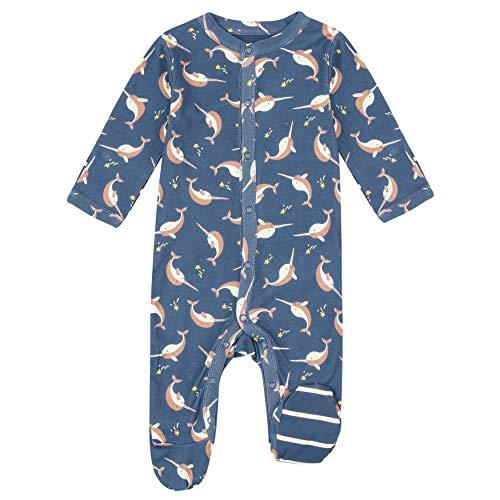Piccalilly Baby Schlafstrampler mit Füßen aus weichem Bio-Baumwolle Jersey Narwal...