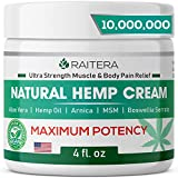 Raitera Hemp Cream 10,000,000 for Relief from Pain Pure Hemp Oil Extract, MSM, Arnica - Natural Ingredients - Max Strength Balm for Relief Arthritis, Carpal Tunnel, Back, Joint, Nerve, Fibromyalgia