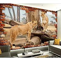壁紙の壁画大きな壁の絵 カスタム壁紙3D写真壁画ステレオスペース動物ライオン壁画ウォールステッカーテレビ背景壁紙リビングルーム壁画-250X175CM
