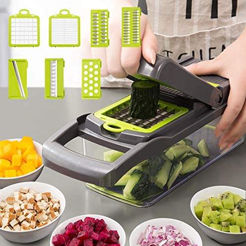 Upgrade Multifunction Vegetable Cutter Kitchen Gadgets Garlic Press Steel Blade Potato Peeler Carrot Grater Kitchen Accessories (Color : Light Grey)