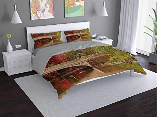 Toopeek NYC 100% washed microfiber bed set Bow-Bridge-in-Autumn-Season Super soft and breathable duvet cover (Twin)