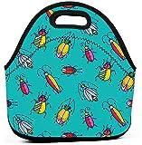 Bolsa de almuerzo preparada para comidas con aislamiento a prueba de fugas lindos divertidos insectos coloridos insectos escarabajos garabatos infantiles muy brillantes estrellas