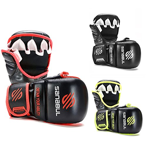 Sanabul New Item Essential 7 oz MMA Hybrid Sparring Gloves (Black/Red, Small/Medium)