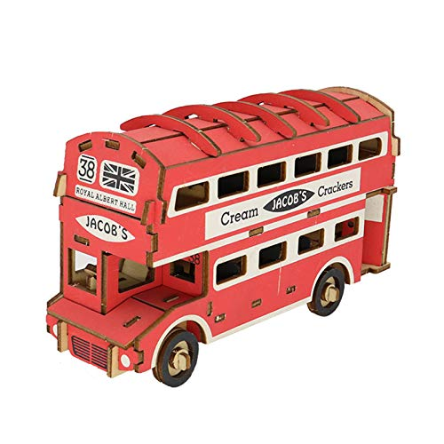LKH 3D Puzzle Puzzles De Madera, Modelo De Autobús De Dos Pisos, Juguetes para Niños Y Amigos, Cumpleaños De Navidad (19,2 × 6,7 × 10,9 cm)(Color:19.2×6.7×10.9cm)