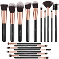 Pinceles de Maquillaje Rose Golden de 18 Piezas Brochas de maquillaje de Primera Calidad Set Para Cara y Ojos, Pinceles Sintéticos Para Correctores en Polvo de Base Blush Eyeshadow