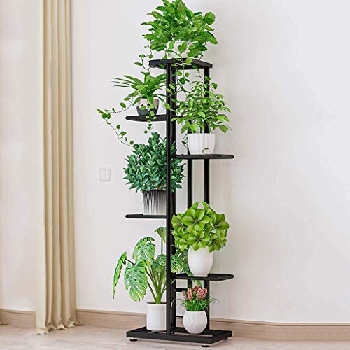 SBDLXY Flower stand6 Tier 7 Potted Metal Plant Stand Indoor Outdoor Multiple Flower Pot Holder Shelf Stander Plant Holder Storage Rack For Patio Garden Balcony (Color : Black)