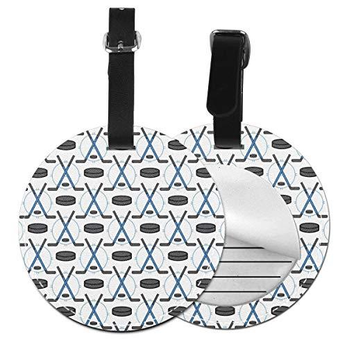 Kofferanhänger mit Hockeyschlägern und Pucks, personalisierbar, Leder, luxuriös, Reisezubehör, runde Gepäckanhänger Schwarz Schwarz 4 PCS