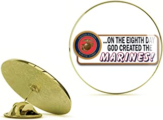HOF Trading On The Eighth Day God Created The Marines Gold Lapel Pin Tie Suit Shirt Pinback