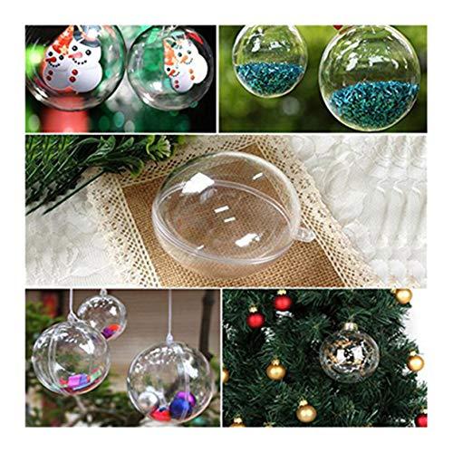 Lalang Boule de Noël Boule de Décoration Transparent Fillable Boule Ornament Noël en Plastique Décorations de Noël, 5pcs/ Set (Rond)