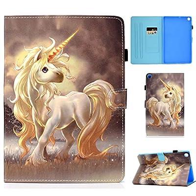 CaseFun Funda para Samsung Galaxy Tab S6 Lite 10.4 P610/P615 Ultra Slim Cover de PU Cuero Smart Case Carcasa con Auto-Sueño/Estela Función del Soporte y Ranuras de Tarjetas, Unicornio