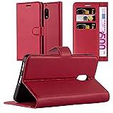 Cadorabo Coque pour Nokia 6 en Rouge Cerise – Housse Protection avec Fermoire Magnétique, Stand Horizontal et Fente Carte – Portefeuille Etui Poche Folio Case Cover