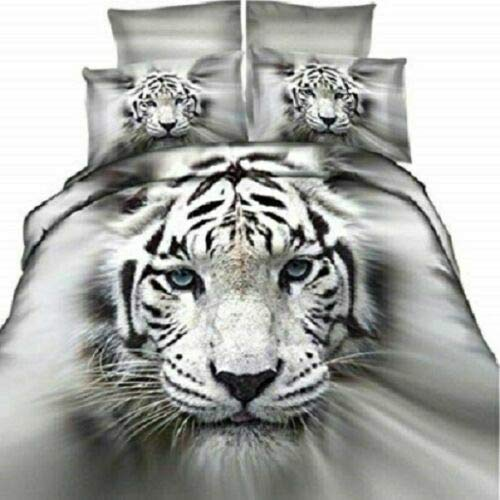 Northern Luxe 3D Animal Effect for Childrens and Adults Printed Duvet Cover set with Pillow Cases Quilt Bedding Set (White Tiger 3D, King)