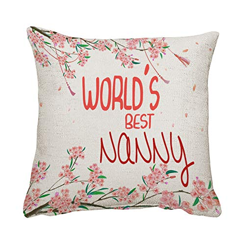 World's Best Nanny Cushion for Bedroom/Sofa Decor, Cotton/Linen Cushion, Mothers Day Throw Pillow Cushion Birthday Gift. (Linen Cover)