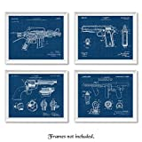 Vintage AR15, Colt 1911, Tommy Gun, Peacemaker Blue Patent Poster Prints, Set of 4 (8x10) Unframed Photos, Wall Art Decor Gifts Under 20 for Home, Office, College Student, Teacher, NRA & Movies Fans