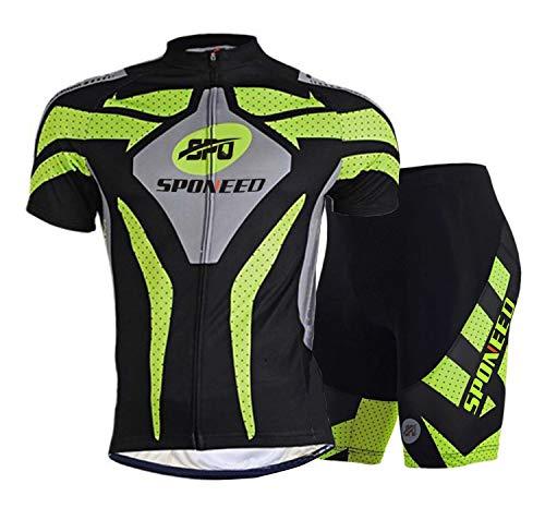 sponeed Herren Radsport-Outfit Set MTB Fahrrad Trikot Road Biker Shorts Trianthlon Radbekleidung Shirts, Herren, grün, Asia L=US Medium