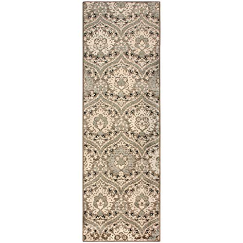 """Superior Designer Augusta Collection Area Rug, 8mm Pile Height with Jute Backing, Beautiful Floral Scalloped Pattern, Anti-Static, Water-Repellent Rugs - Light Blue, 2'7"""" x 8' Runner Rug"""