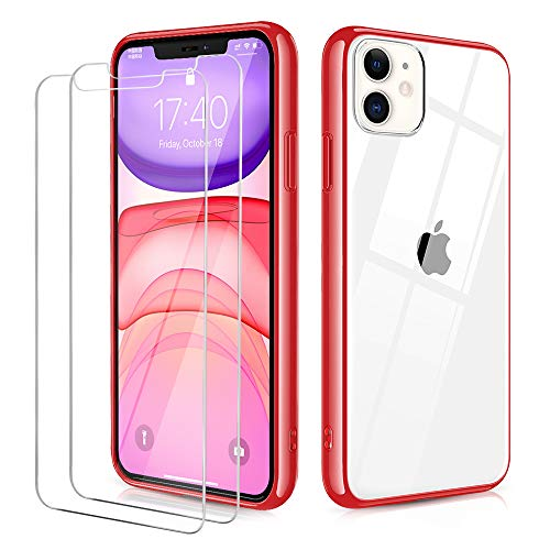 OULUOQI Compatible with iPhone 11 Case, Tempered Glass Screen Protector [2Pack] with Shockproof Clear Case for iPhone 11 6.1 inch