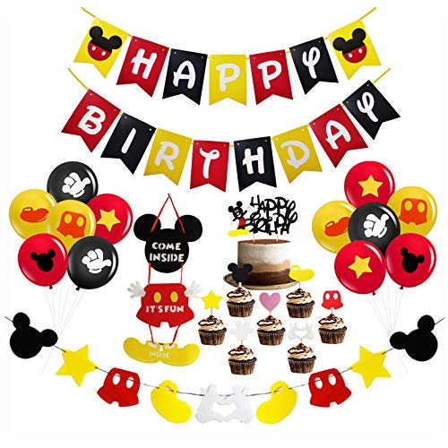 Mickey Mouse Birthday Party Decorations Supplies, Mickey Mouse Happy Birthday Banner, Mickey Mouse Door Sign, Mickey Mouse Cake Topper with 12 PCS Latex Balloons for Baby Birthday Party Mickey Mouse Theme Party Supplies