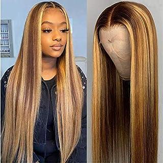 JYZ 13X4 Highlight Straight Lace Front Human Hair Wigs for Black Women Brazilian Virgin Human Hair 150% Density 2 Tones Co...