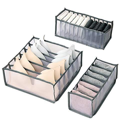 Wishstar Aufbewahrungsboxen für Unterwäsche, Faltbar Aufbewahrungsbox für Socken, Schubladen-Organizer Schrank Organizer, 3er Set FüR BHS, Socken, Unterhosen(Grau)