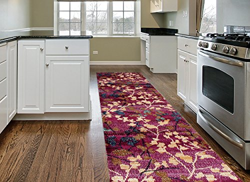 Rugshop Contemporary Floral Soft Area Rug Runner, 2′ x 7'2″, Purple