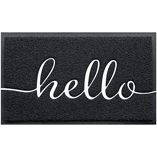 BeneathYourFeet Door Mat (30'x17.5',Black), Durable Welcome Mat Low Profile Floor Mat Front Doormat Indoor Outdoor Door Rug Non Slip Rugs for Entryway, Patio, High Traffic Areas