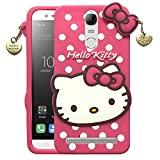Dgeot Cute Hello Kitty Back Case Compatible with Lenovo Vibe K5 Note Cartoon 3D Printed Soft Rubberised Hello Kitty with Pendant Back Case Cover Compatible with Lenovo Vibe K5 Note - Pink