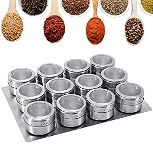 GoMaihe Spice Jars 12 Set, Stainless Steel Transparent Top BBQ Spice Tin Magnetic Storage Containers Stick on… 1